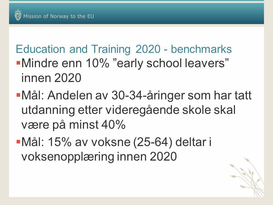 "Education and Training 2020 - benchmarks  Mindre enn 10% ""early school leavers"" innen 2020  Mål: Andelen av 30-34-åringer som har tatt utdanning ett"