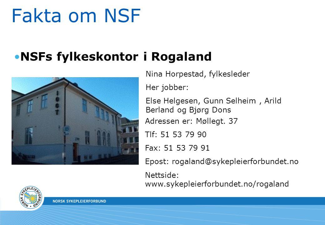 Fakta om NSF NSFs fylkeskontor i Rogaland Nina Horpestad, fylkesleder Her jobber: Else Helgesen, Gunn Selheim, Arild Berland og Bjørg Dons Adressen er