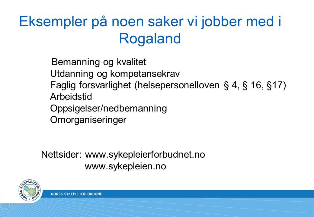 Eksempler på noen saker vi jobber med i Rogaland Bemanning og kvalitet Utdanning og kompetansekrav Faglig forsvarlighet (helsepersonelloven § 4, § 16,