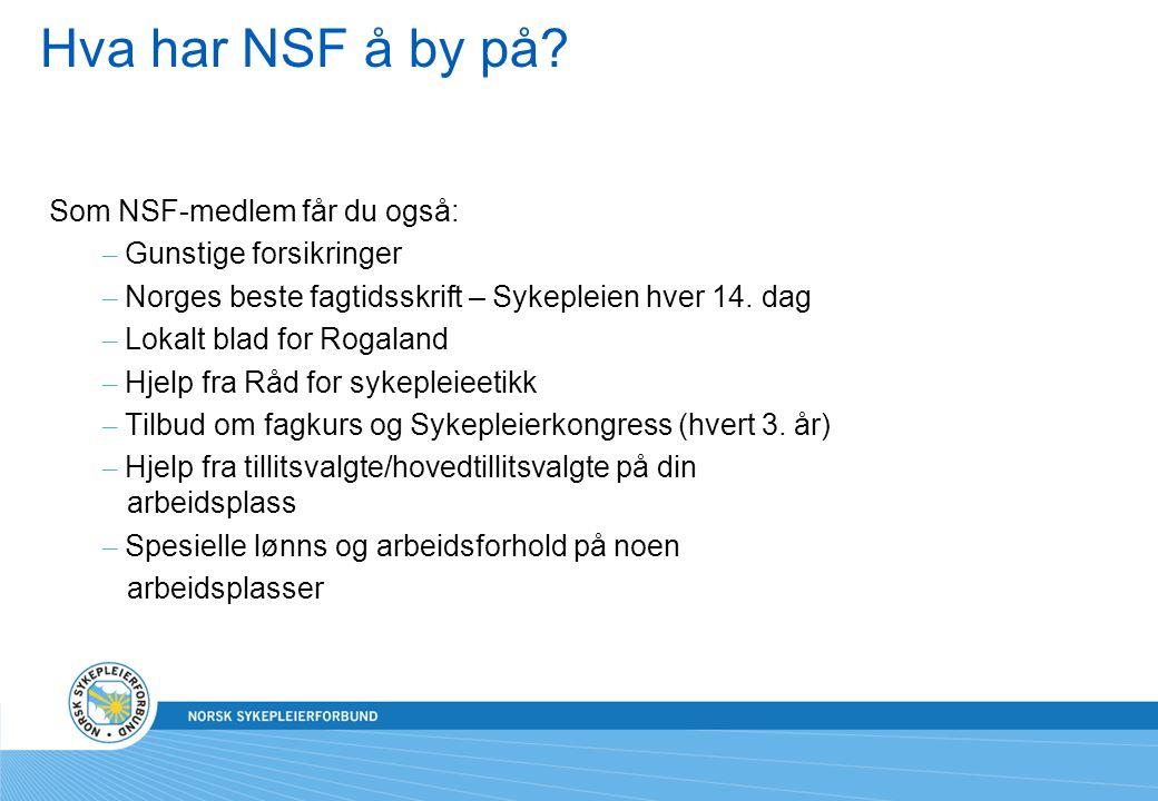Hva har NSF å by på? Som NSF-medlem får du også: – Gunstige forsikringer – Norges beste fagtidsskrift – Sykepleien hver 14. dag – Lokalt blad for Roga