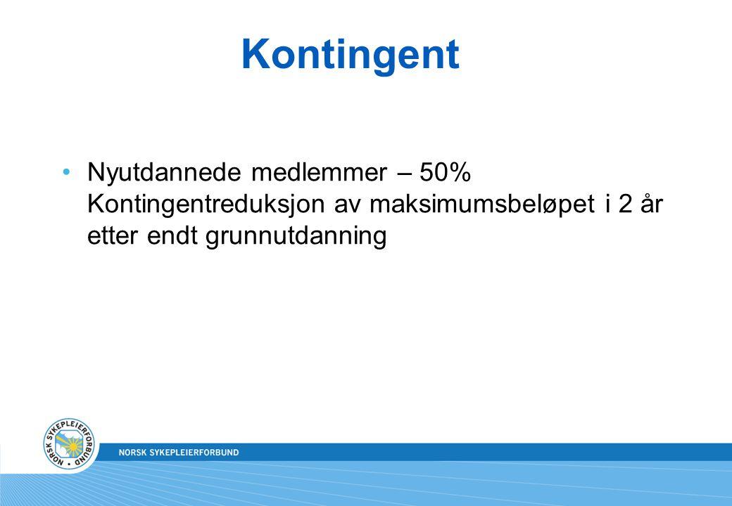 Kontingent Nyutdannede medlemmer – 50% Kontingentreduksjon av maksimumsbeløpet i 2 år etter endt grunnutdanning