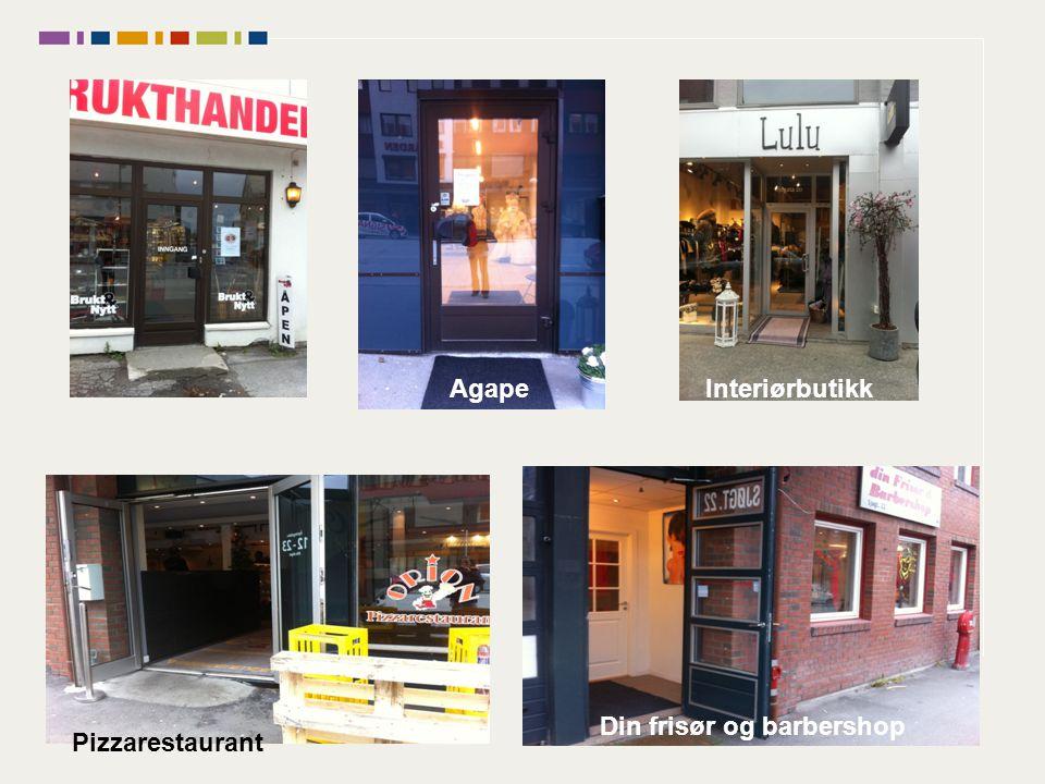 AgapeInteriørbutikk Din frisør og barbershop Pizzarestaurant