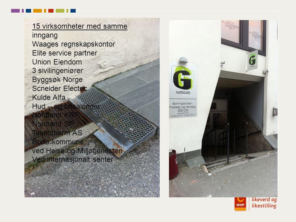 15 virksomheter med samme inngang Waages regnskapskontor Elite service partner Union Eiendom 3 sivilingeniører Byggsøk Norge Scneider Electric Kulde A