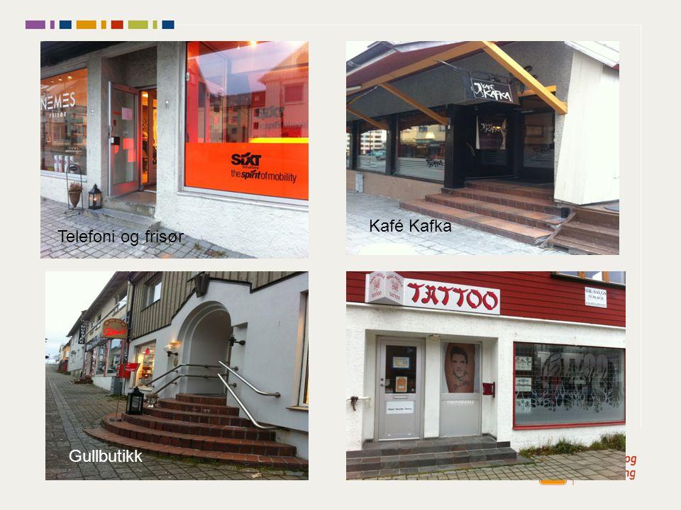 Gullbutikk Kafé Kafka Telefoni og frisør