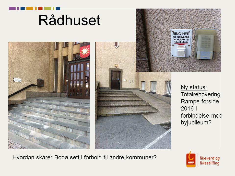 Rådhuset Ny status: Totalrenovering Rampe forside 2016 i forbindelse med byjubileum? Hvordan skårer Bodø sett i forhold til andre kommuner?
