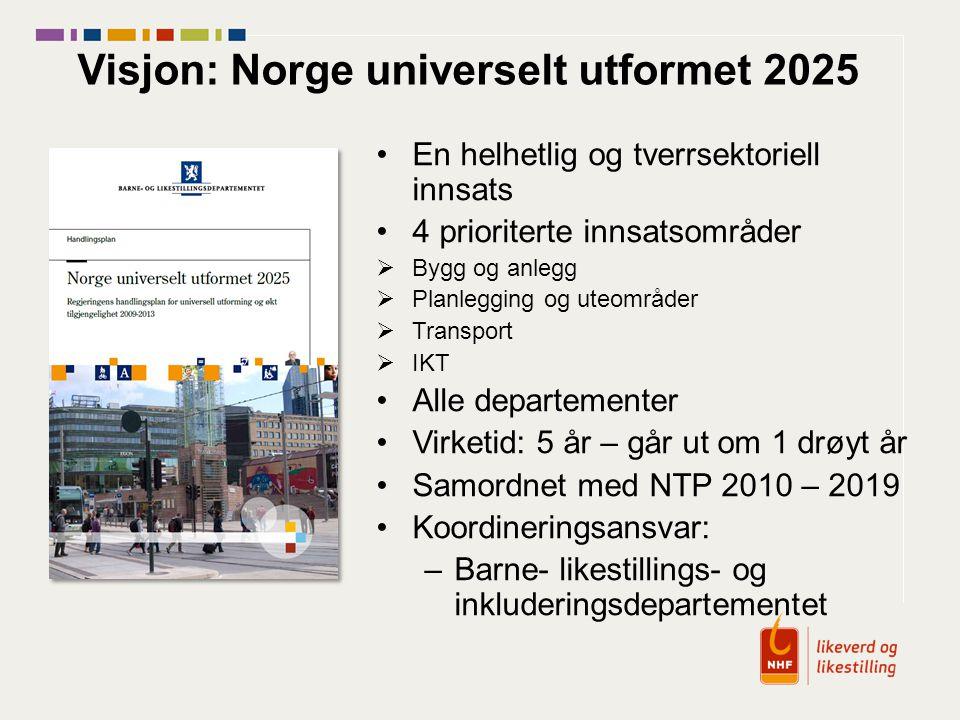 Visjon: Norge universelt utformet 2025 En helhetlig og tverrsektoriell innsats 4 prioriterte innsatsområder  Bygg og anlegg  Planlegging og uteområd