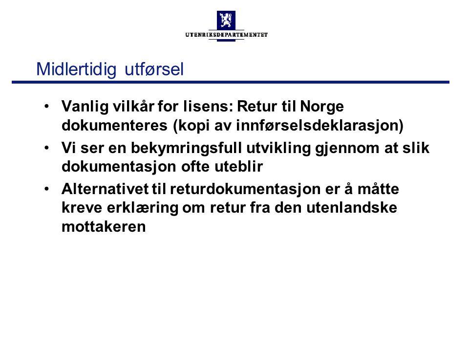 Midlertidig utførsel Vanlig vilkår for lisens: Retur til Norge dokumenteres (kopi av innførselsdeklarasjon) Vi ser en bekymringsfull utvikling gjennom