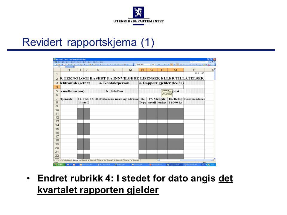 Revidert rapportskjema (1) Endret rubrikk 4: I stedet for dato angis det kvartalet rapporten gjelder