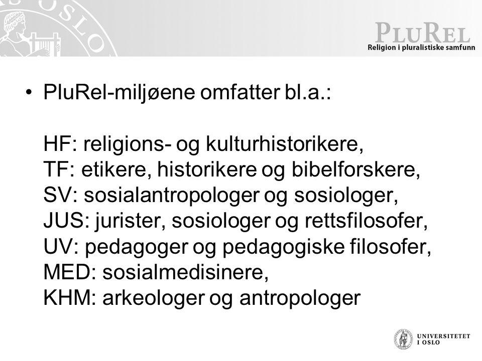 PluRel-miljøene omfatter bl.a.: HF: religions- og kulturhistorikere, TF: etikere, historikere og bibelforskere, SV: sosialantropologer og sosiologer, JUS: jurister, sosiologer og rettsfilosofer, UV: pedagoger og pedagogiske filosofer, MED: sosialmedisinere, KHM: arkeologer og antropologer