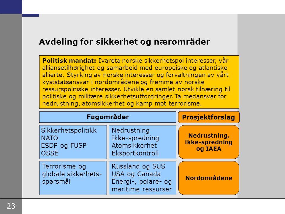 23 Avdeling for sikkerhet og nærområder Politisk mandat: Ivareta norske sikkerhetspol interesser, vår alliansetilhørighet og samarbeid med europeiske
