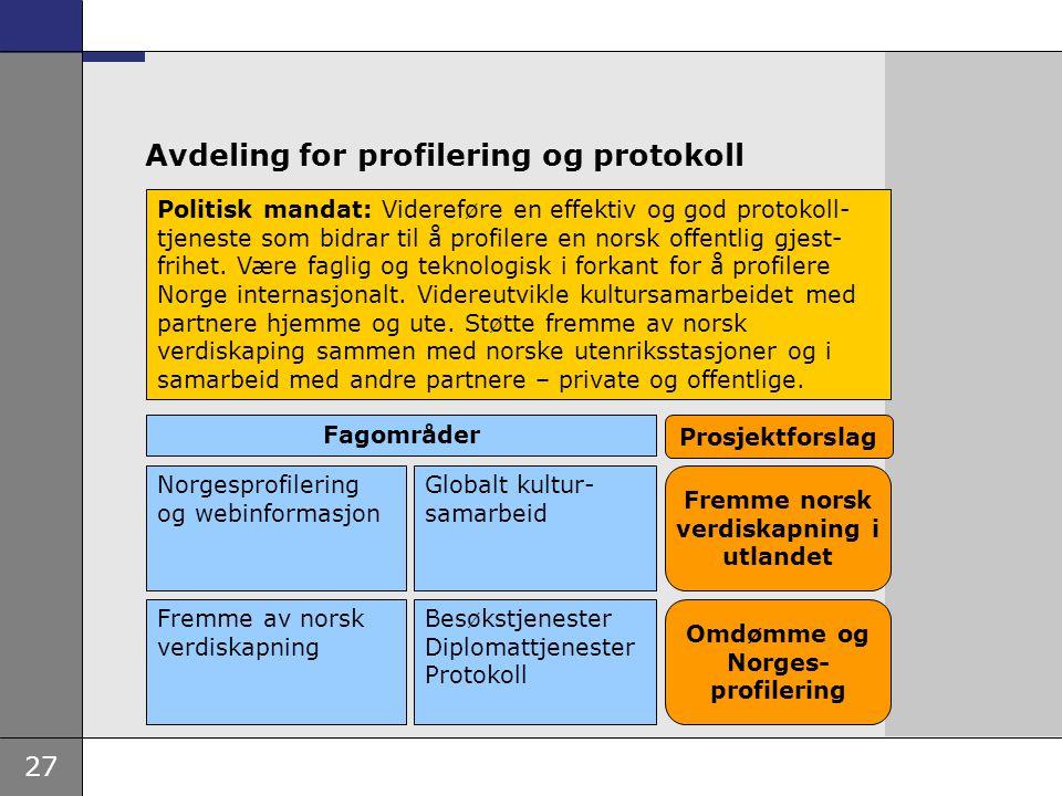 27 Avdeling for profilering og protokoll Politisk mandat: Videreføre en effektiv og god protokoll- tjeneste som bidrar til å profilere en norsk offent