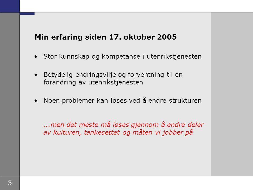 3 Min erfaring siden 17. oktober 2005 Stor kunnskap og kompetanse i utenrikstjenesten Betydelig endringsvilje og forventning til en forandring av uten