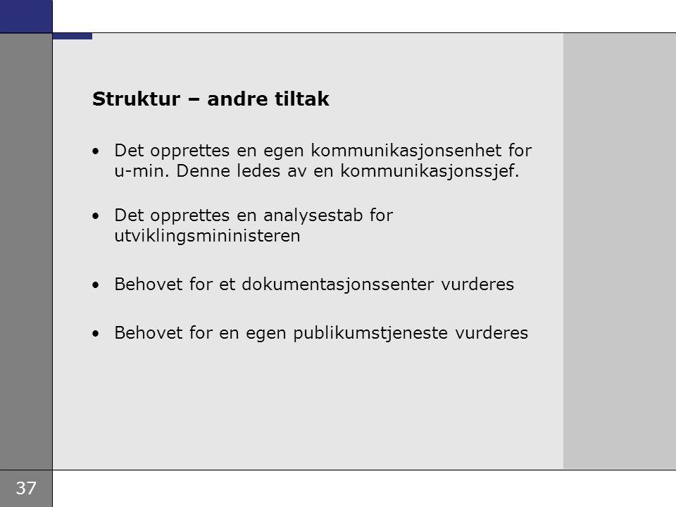 37 Struktur – andre tiltak Det opprettes en egen kommunikasjonsenhet for u-min. Denne ledes av en kommunikasjonssjef. Det opprettes en analysestab for
