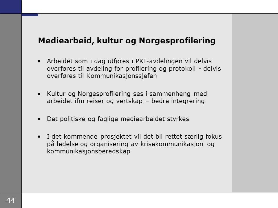 44 Mediearbeid, kultur og Norgesprofilering Arbeidet som i dag utføres i PKI-avdelingen vil delvis overføres til avdeling for profilering og protokoll