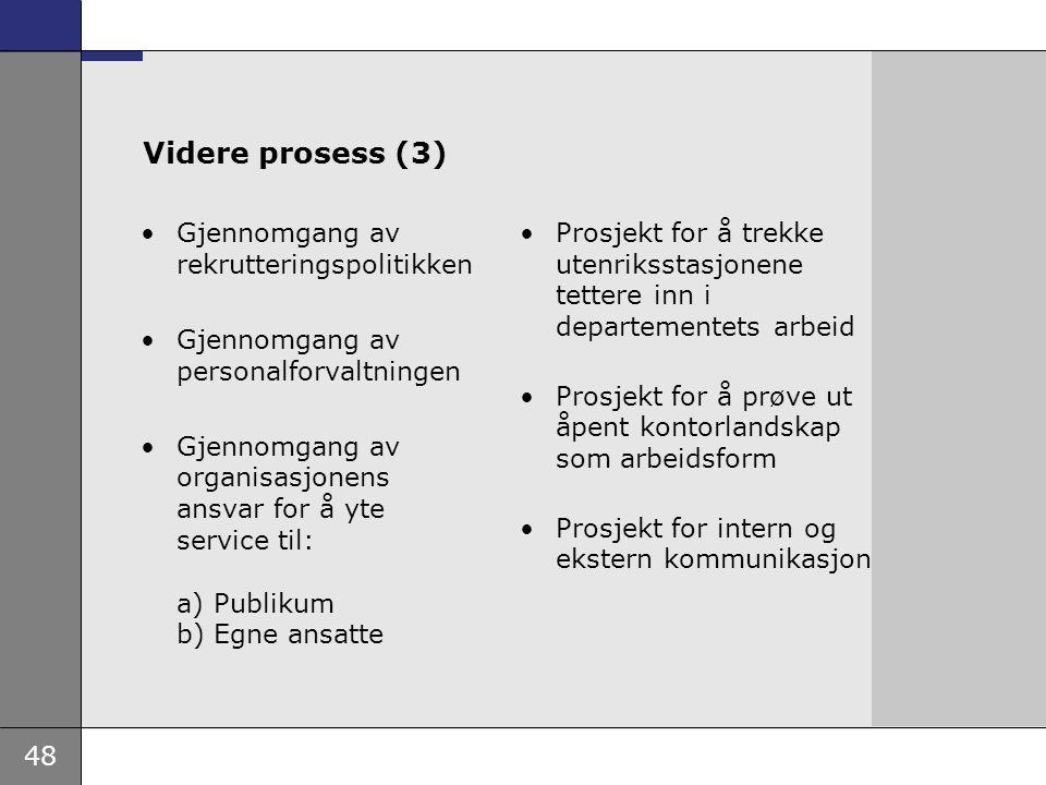 48 Videre prosess (3) Gjennomgang av rekrutteringspolitikken Gjennomgang av personalforvaltningen Gjennomgang av organisasjonens ansvar for å yte serv