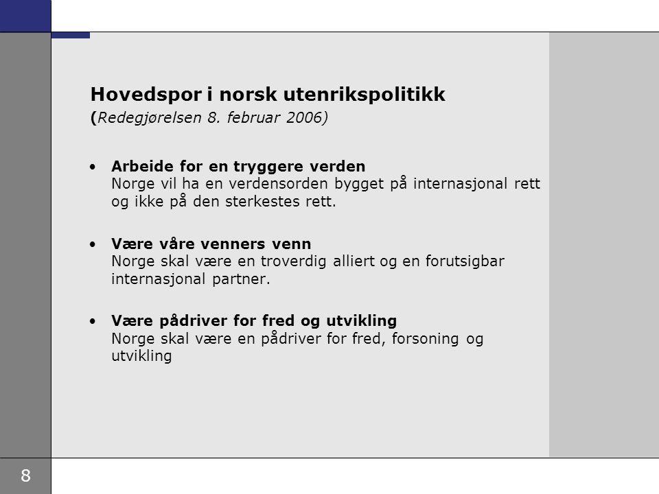 8 Hovedspor i norsk utenrikspolitikk (Redegjørelsen 8. februar 2006) Arbeide for en tryggere verden Norge vil ha en verdensorden bygget på internasjon