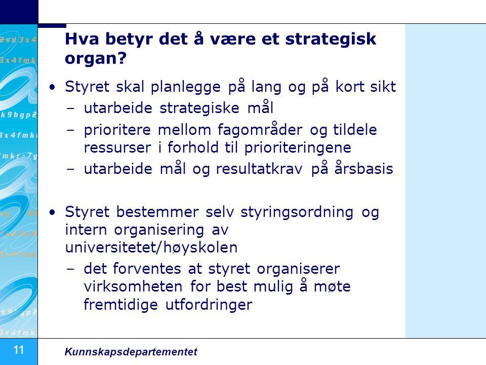 11 Kunnskapsdepartementet Hva betyr det å være et strategisk organ? Styret skal planlegge på lang og på kort sikt –utarbeide strategiske mål –priorite