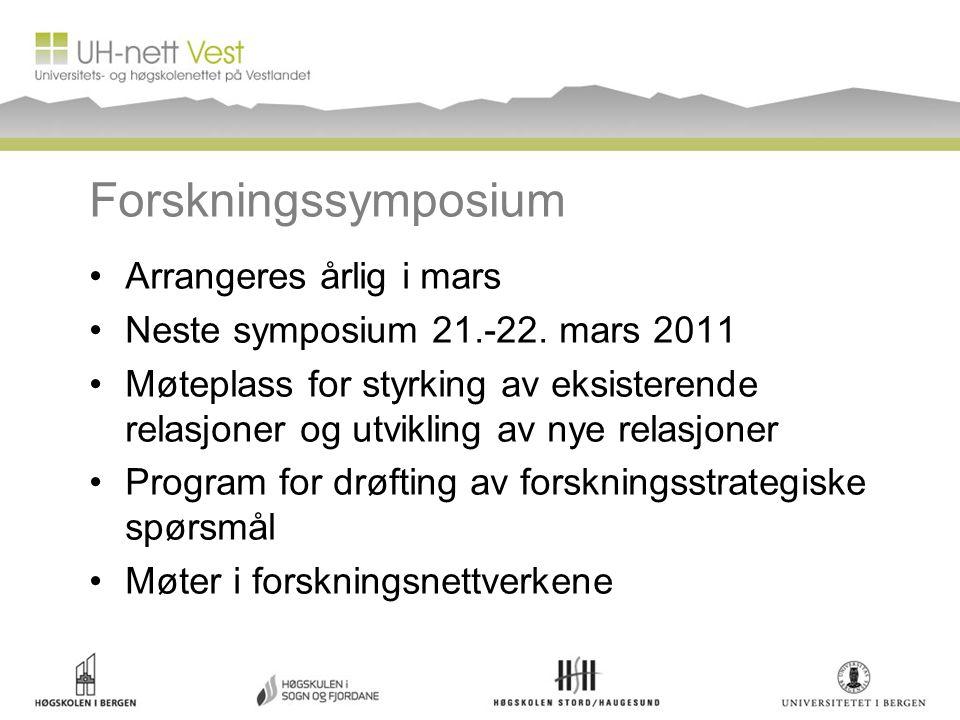 Forskningssymposium Arrangeres årlig i mars Neste symposium 21.-22.