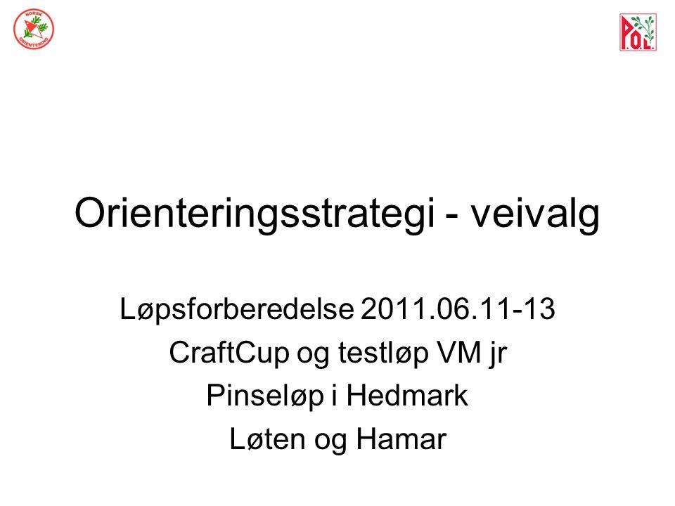 Orienteringsstrategi - veivalg Løpsforberedelse 2011.06.11-13 CraftCup og testløp VM jr Pinseløp i Hedmark Løten og Hamar