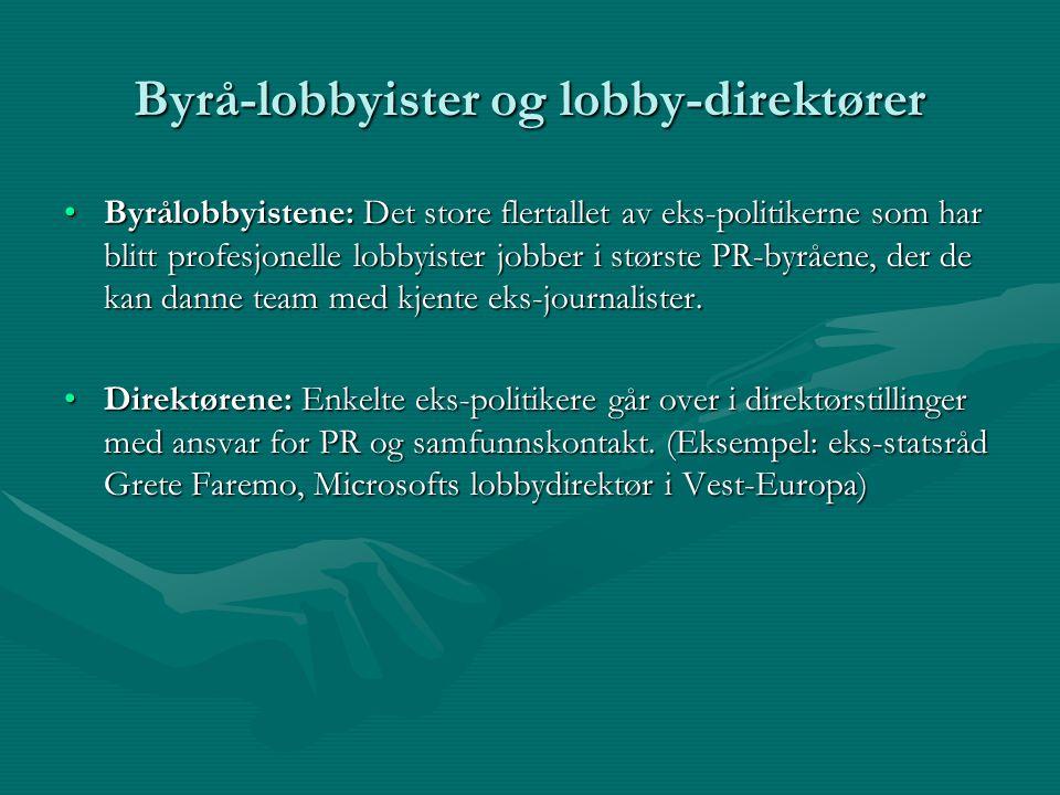 Byrå-lobbyister og lobby-direktører Byrålobbyistene: Det store flertallet av eks-politikerne som har blitt profesjonelle lobbyister jobber i største PR-byråene, der de kan danne team med kjente eks-journalister.Byrålobbyistene: Det store flertallet av eks-politikerne som har blitt profesjonelle lobbyister jobber i største PR-byråene, der de kan danne team med kjente eks-journalister.
