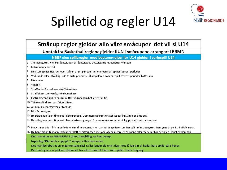 Spilletid og regler U14 Småcup regler gjelder alle våre småcuper det vil si U14 Unntak fra Basketballreglene gjelder KUN i småcupene arrangert i BRMN