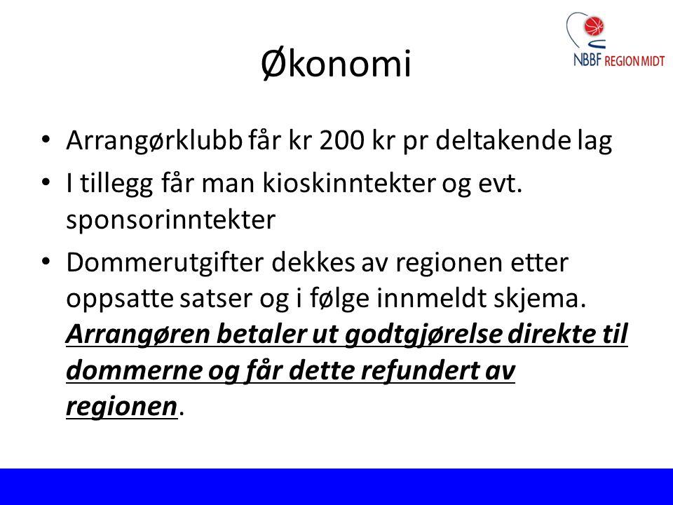 Økonomi Arrangørklubb får kr 200 kr pr deltakende lag I tillegg får man kioskinntekter og evt. sponsorinntekter Dommerutgifter dekkes av regionen ette