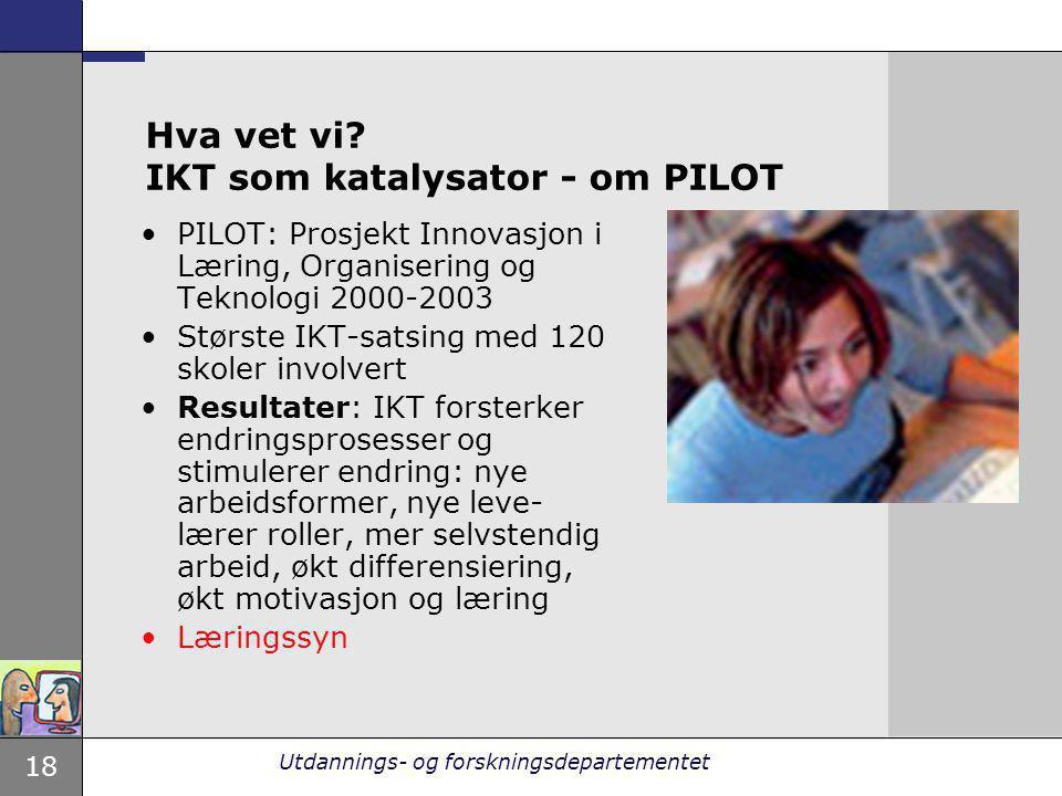 18 Utdannings- og forskningsdepartementet Hva vet vi? IKT som katalysator - om PILOT PILOT: Prosjekt Innovasjon i Læring, Organisering og Teknologi 20