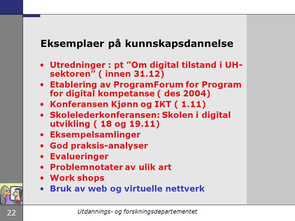 """22 Utdannings- og forskningsdepartementet Eksemplaer på kunnskapsdannelse Utredninger : pt """"Om digital tilstand i UH- sektoren"""" ( innen 31.12) Etabler"""