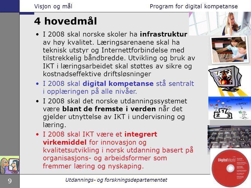 9 Utdannings- og forskningsdepartementet I 2008 skal norske skoler ha infrastruktur av høy kvalitet. Læringsarenaene skal ha teknisk utstyr og Interne