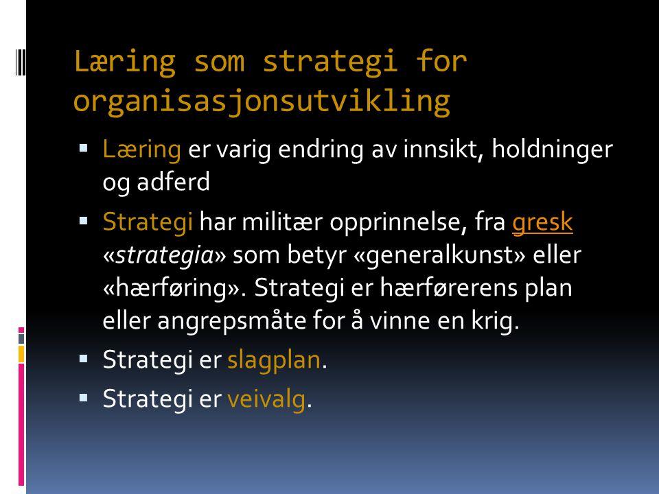 Læring som strategi for organisasjonsutvikling  Læring er varig endring av innsikt, holdninger og adferd  Strategi har militær opprinnelse, fra gresk «strategia» som betyr «generalkunst» eller «hærføring».