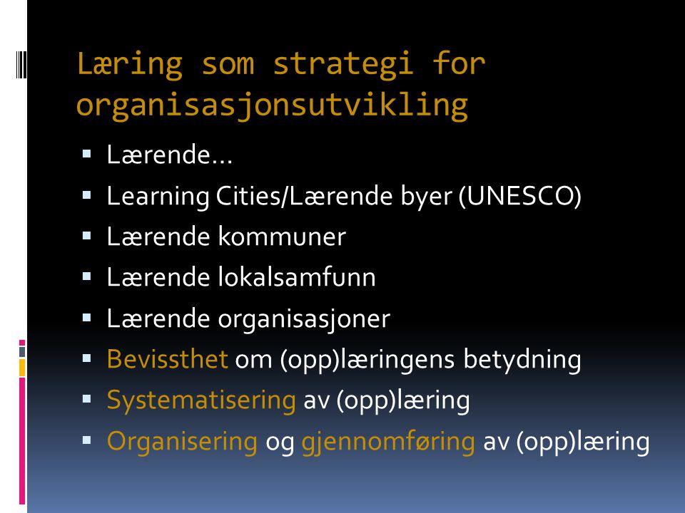 Læring som strategi for organisasjonsutvikling  Lærende…  Learning Cities/Lærende byer (UNESCO)  Lærende kommuner  Lærende lokalsamfunn  Lærende organisasjoner  Bevissthet om (opp)læringens betydning  Systematisering av (opp)læring  Organisering og gjennomføring av (opp)læring