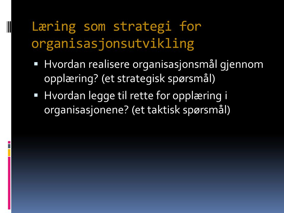 Læring som strategi for organisasjonsutvikling  Hvordan realisere organisasjonsmål gjennom opplæring? (et strategisk spørsmål)  Hvordan legge til re
