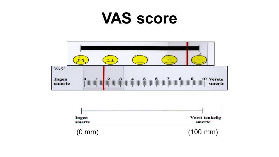 VAS score (0 mm)(100 mm)