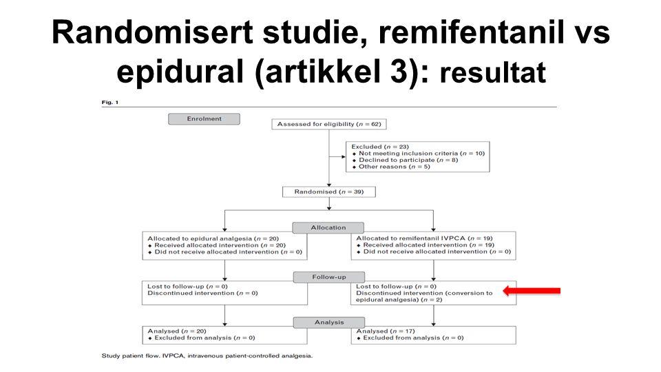 Randomisert studie, remifentanil vs epidural (artikkel 3): resultat