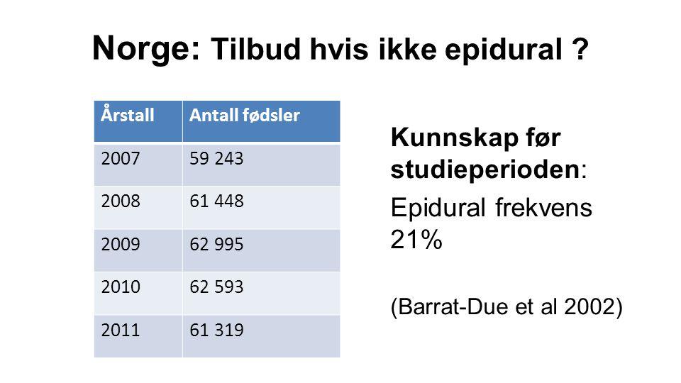  Epiduralfrekvens i Norge økende, men fortsatt lav  Systemiske opioider ofte brukt i stedet eller som supplement  Konservativ norsk praksis, sjelden bruk av nyere kortvirkende opioider Spørreundersøkelse (artikkel 1): konklusjon