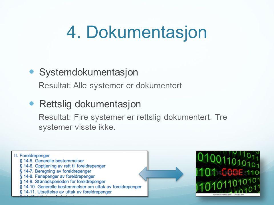 4. Dokumentasjon Systemdokumentasjon Resultat: Alle systemer er dokumentert Rettslig dokumentasjon Resultat: Fire systemer er rettslig dokumentert. Tr