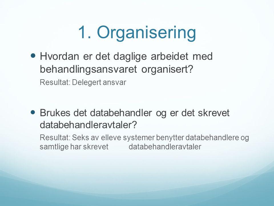 1. Organisering Hvordan er det daglige arbeidet med behandlingsansvaret organisert? Resultat: Delegert ansvar Brukes det databehandler og er det skrev