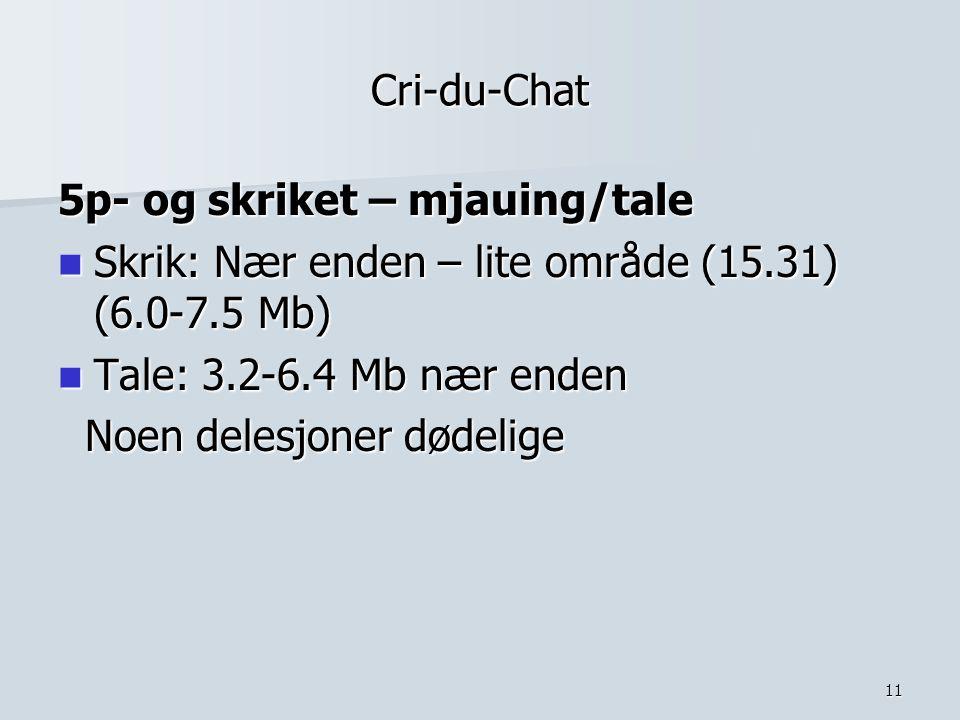 11 Cri-du-Chat 5p- og skriket – mjauing/tale Skrik: Nær enden – lite område (15.31) (6.0-7.5 Mb) Skrik: Nær enden – lite område (15.31) (6.0-7.5 Mb) T