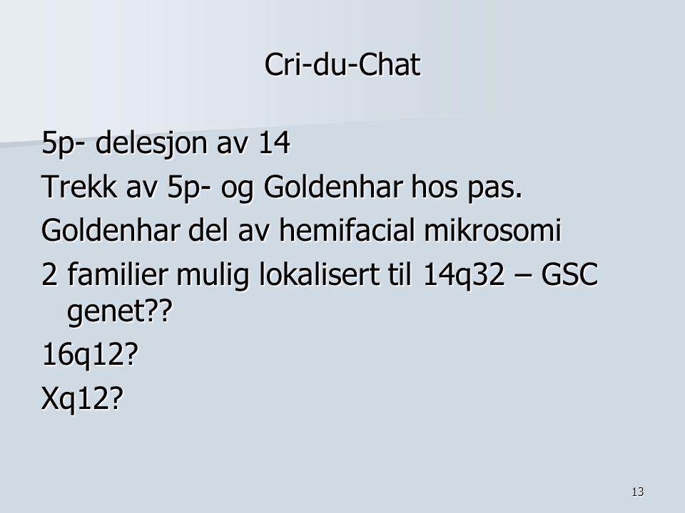 13 Cri-du-Chat 5p- delesjon av 14 Trekk av 5p- og Goldenhar hos pas. Goldenhar del av hemifacial mikrosomi 2 familier mulig lokalisert til 14q32 – GSC