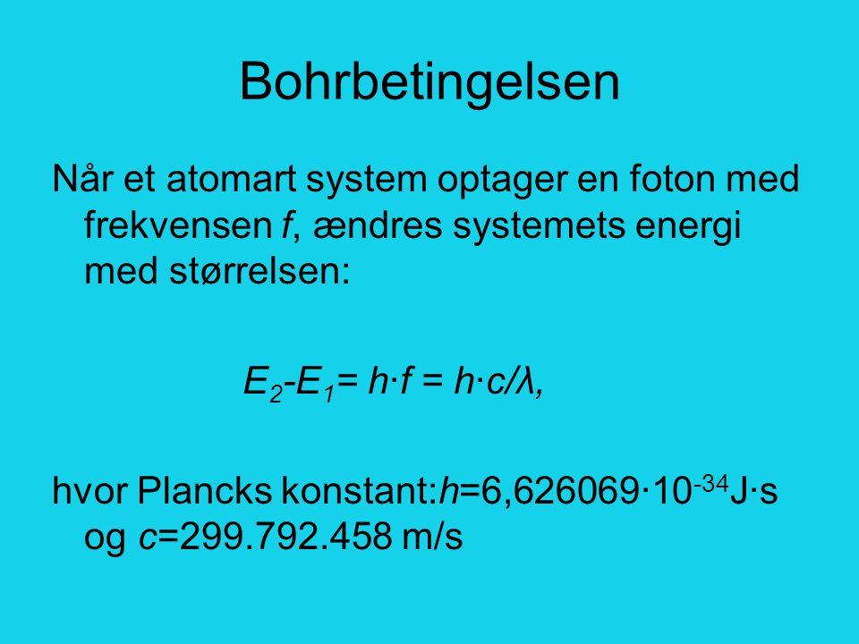 Bohrbetingelsen Når et atomart system optager en foton med frekvensen f, ændres systemets energi med størrelsen: E 2 -E 1 = h·f = h·c/λ, hvor Plancks konstant:h=6,626069·10 -34 J·s og c=299.792.458 m/s
