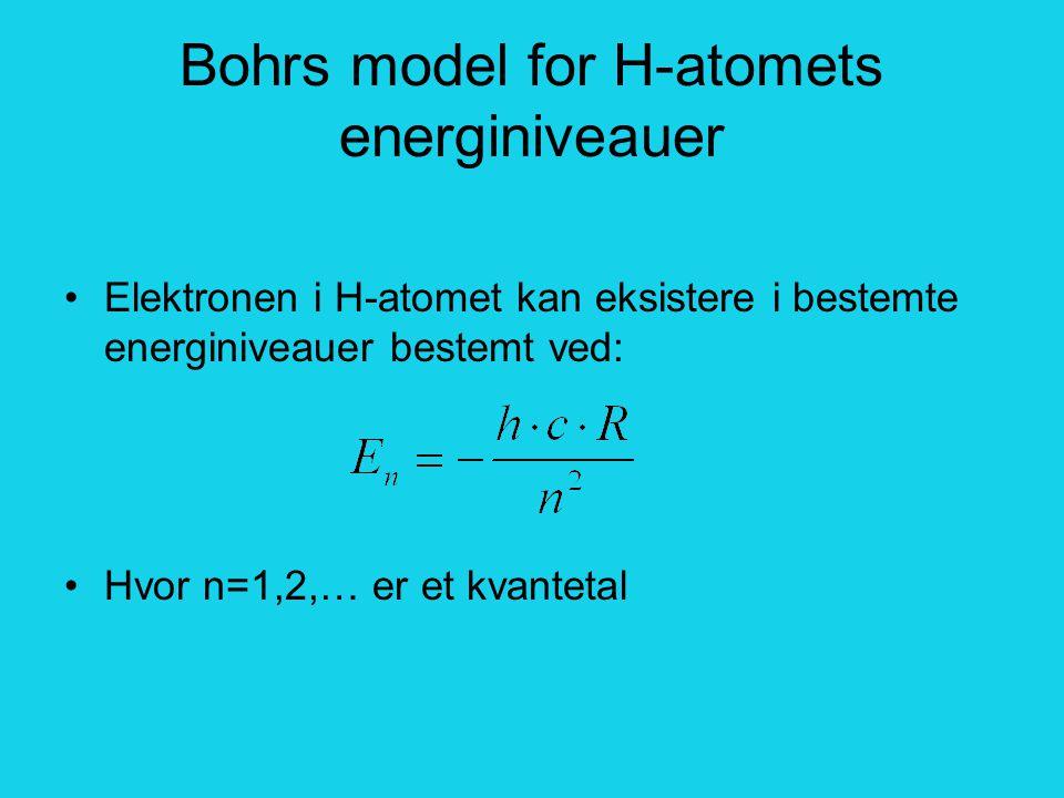 Bohrs model for H-atomets energiniveauer Elektronen i H-atomet kan eksistere i bestemte energiniveauer bestemt ved: Hvor n=1,2,… er et kvantetal