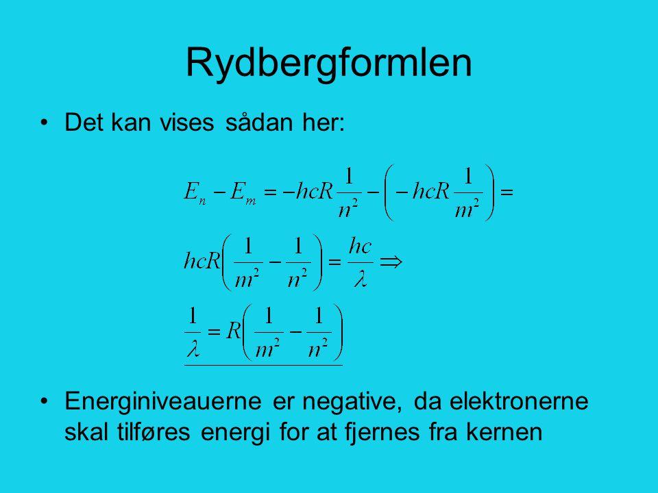 Rydbergformlen Det kan vises sådan her: Energiniveauerne er negative, da elektronerne skal tilføres energi for at fjernes fra kernen