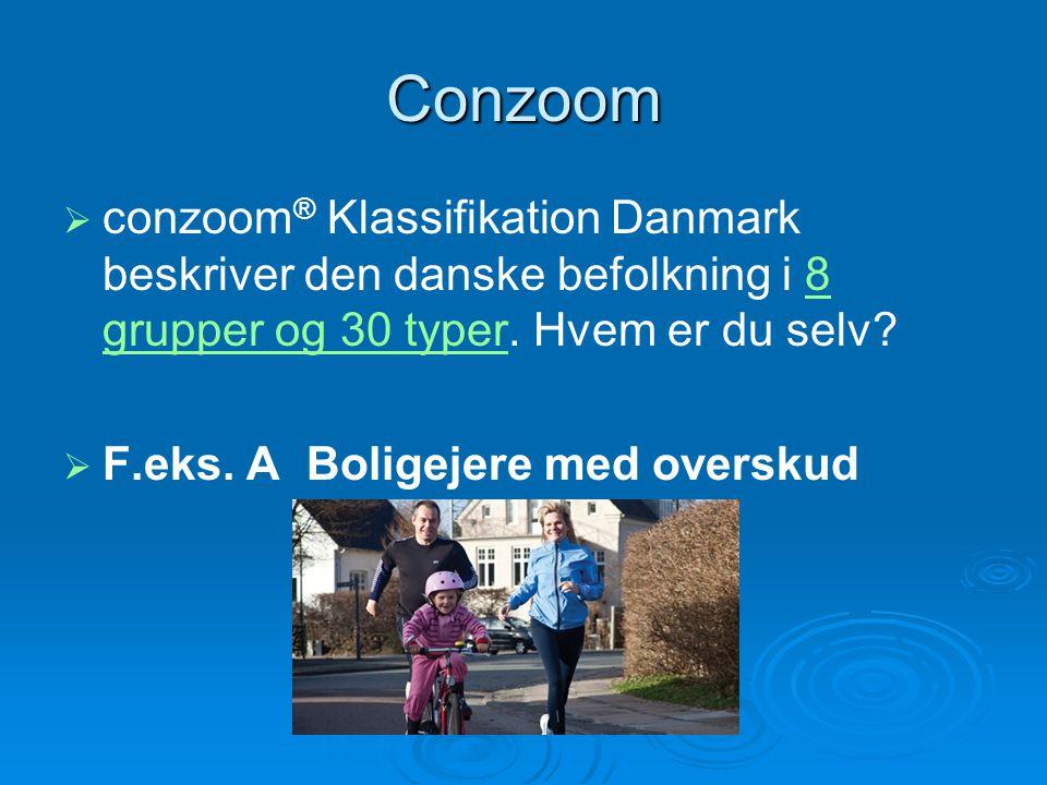 Conzoom   conzoom ® Klassifikation Danmark beskriver den danske befolkning i 8 grupper og 30 typer.