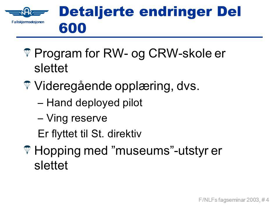 Fallskjermseksjonen F/NLFs fagseminar 2003, # 5 Detaljerte endringer Del 600 Utdanning av tandeminstruktør er beholdt, men med sterkere referanse til Relative Workshop's kurs