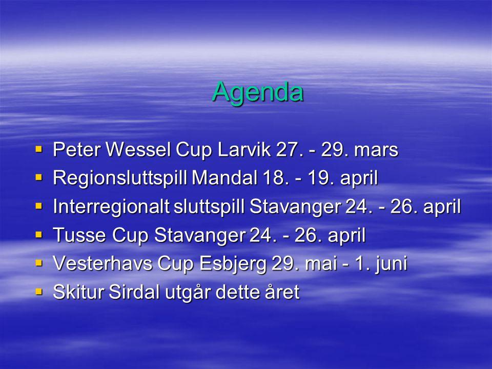 Agenda  Peter Wessel Cup Larvik 27. - 29. mars  Regionsluttspill Mandal 18.