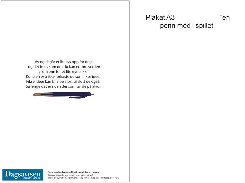"""Plakat A3 """"en penn med i spillet"""""""