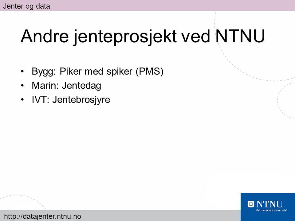http://datajenter.ntnu.no Jenter og data Andre jenteprosjekt ved NTNU Bygg: Piker med spiker (PMS) Marin: Jentedag IVT: Jentebrosjyre