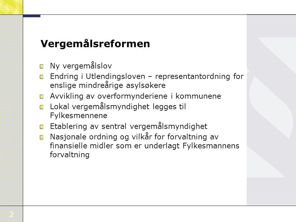 2 Vergemålsreformen Ny vergemålslov Endring i Utlendingsloven – representantordning for enslige mindreårige asylsøkere Avvikling av overformynderiene