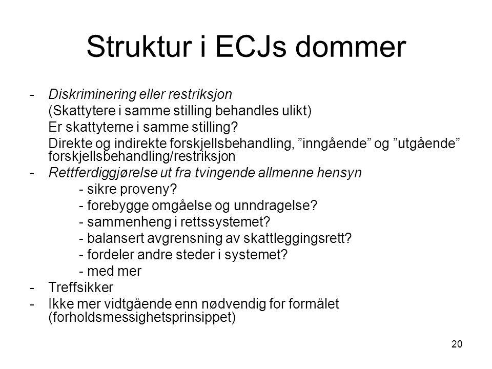 20 Struktur i ECJs dommer -Diskriminering eller restriksjon (Skattytere i samme stilling behandles ulikt) Er skattyterne i samme stilling.