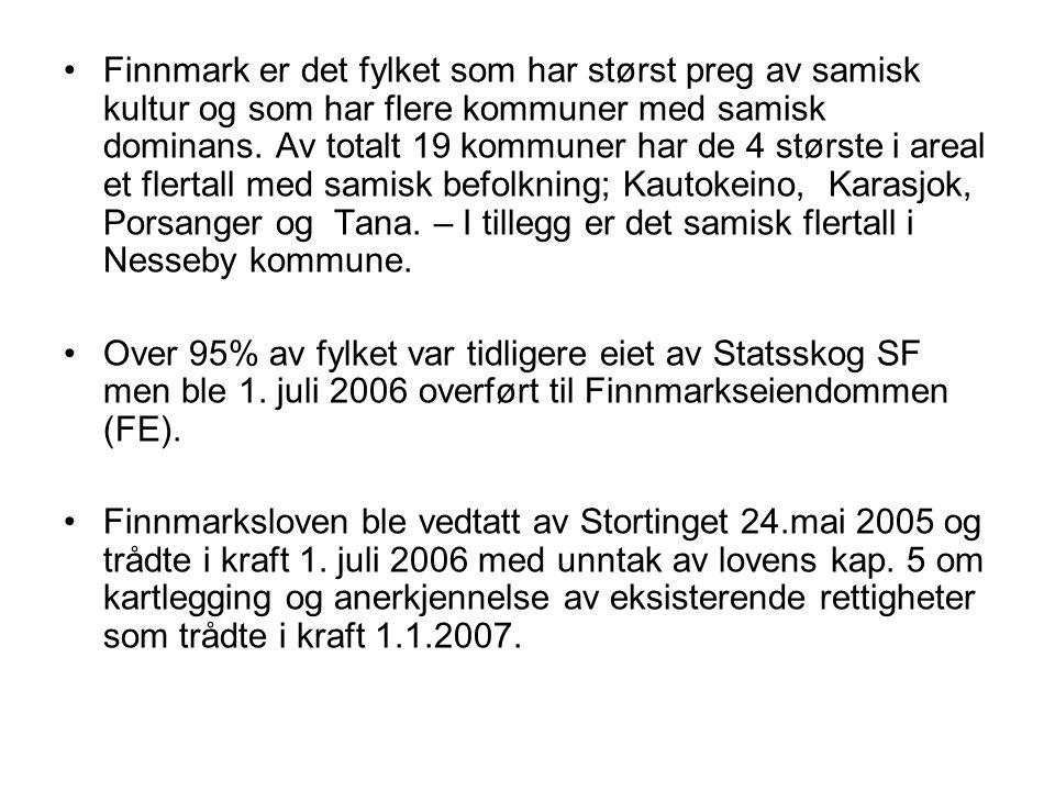 Finnmark er det fylket som har størst preg av samisk kultur og som har flere kommuner med samisk dominans. Av totalt 19 kommuner har de 4 største i ar